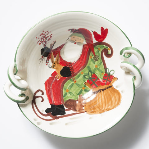 Old St. Nick Scallop Handled Bowl With Sleigh