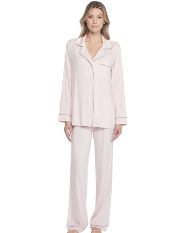 Luxe Milk Jersey Piped Pajamas- Pink/Pewter