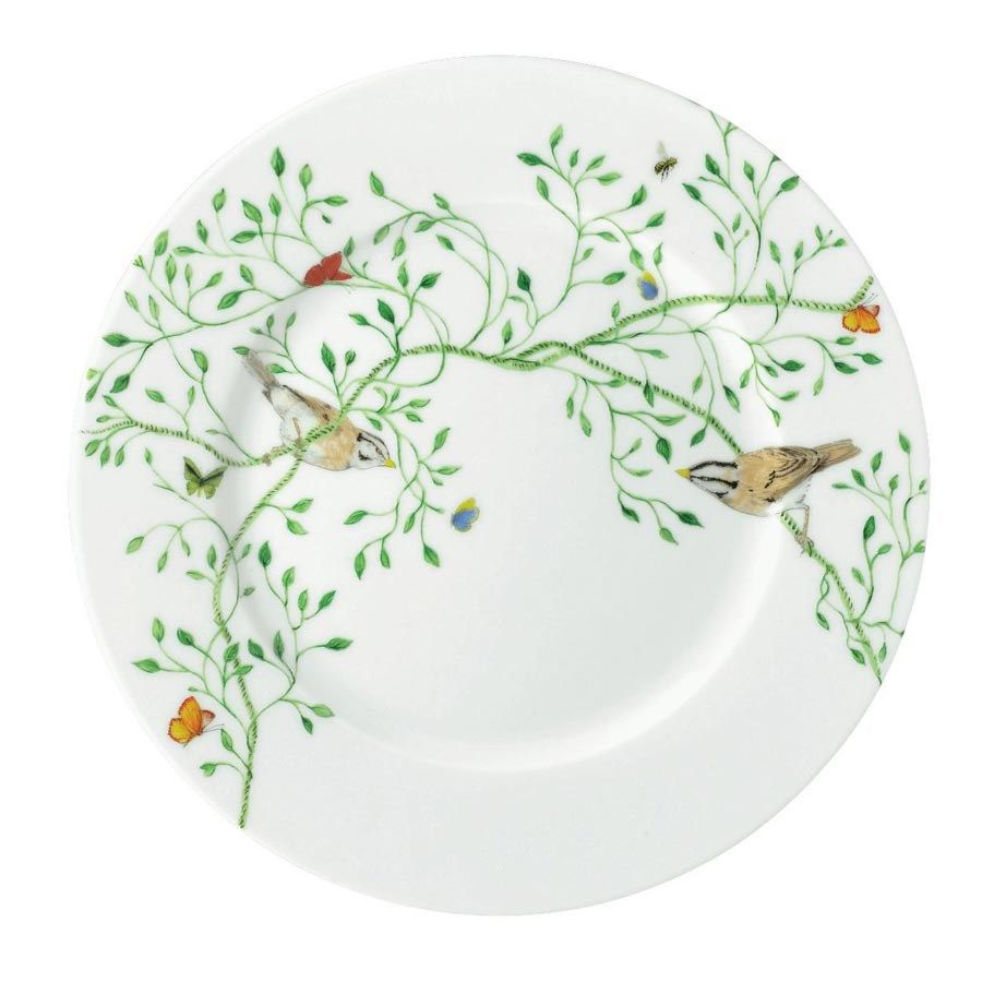 Wing Song Dessert Plate with Green Birds