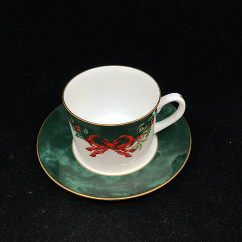 Holly Ribbons Green Tea Cup & Saucer