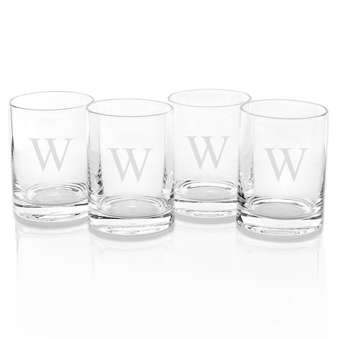 Monogrammed 14 oz. Double Old Fashioned, Set of 4