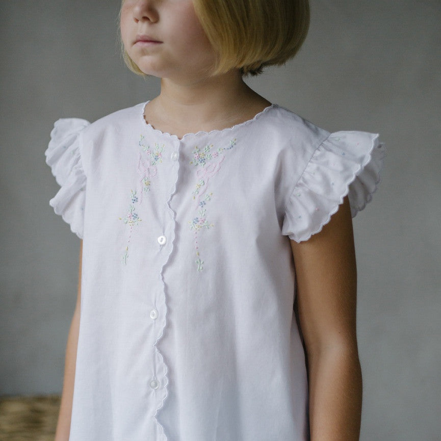 Little English Bow & Flower Blouse