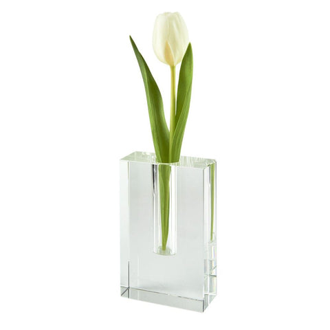 Crystal Rectangle Bud Vase- Short