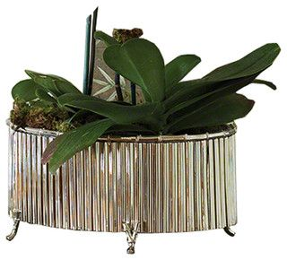 Corrugated Bamboo Brass Medium Cachepot