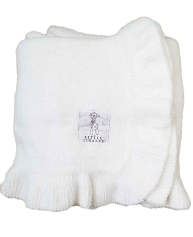 Dolce Ruffle Baby Blanket-White