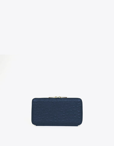 The Zip Wallet Ostrich-Navy