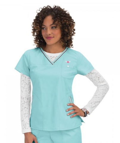 Cool Blue Scrub Top