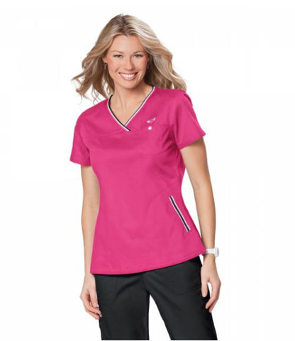 Flamingo Pink Ladies Scrub Top