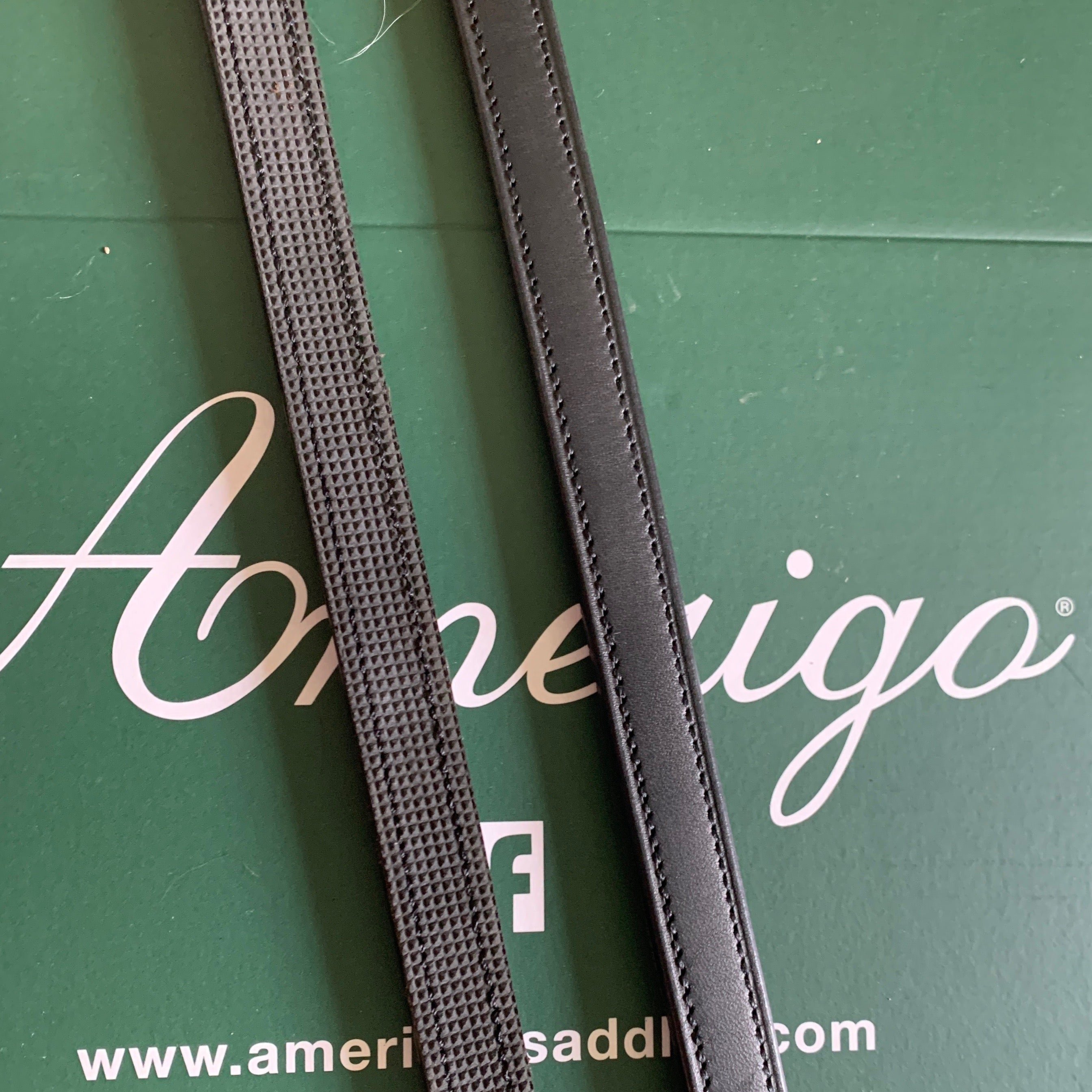Amerigo Vespucci Patent Double Bridle with Half Lined Rubber Reins Black Full