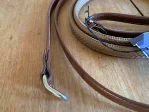 Prestige Eventing Reins - double bonded leather with Conway loop to fasten to bit