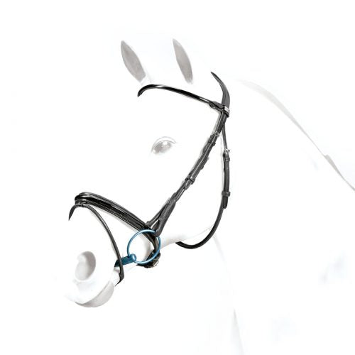 Equipe Rolled Flash Patent Bridle brown cob with Rubber Reins
