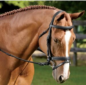Amerigo Vespucci Chunky raised Snaffle/Flash Bridle with Rubber Reins Brown Full