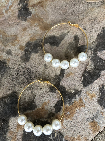 Beaded Gold Pearl Earrings