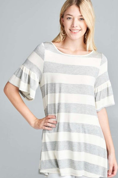 Color Block Stripes - Heather Gray