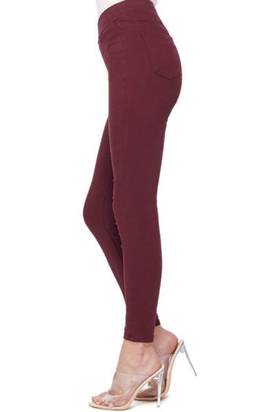Hammer Pull-On Comfort Waistband Jeggings - Burgundy Denim