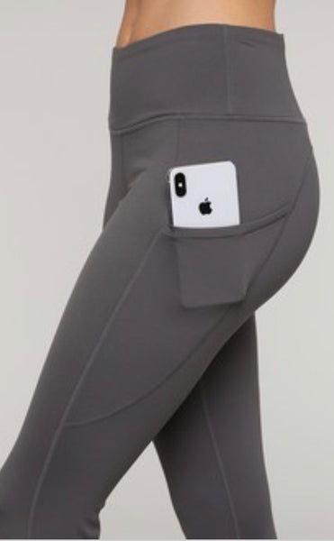 5-Pocket Athleisure Workout Leggings - Charcoal