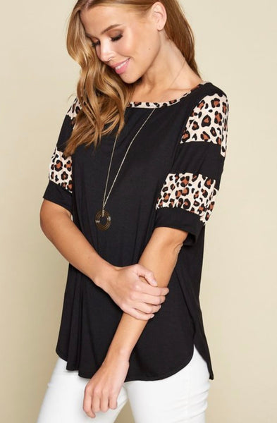 Black Animal Trim Top