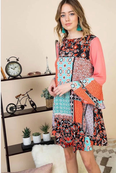 Patchwork Dress - Coral