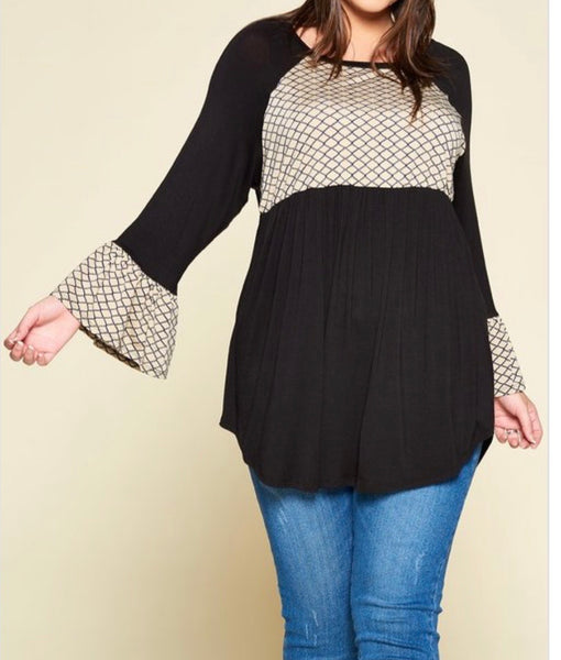 Black Flare Sleeve Top