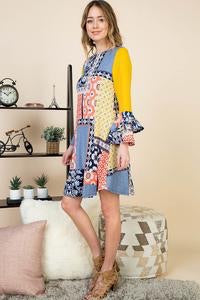 Patchwork Dress - Yellow/Blue