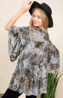 Gray & Brown Bell Sleeve Beauty