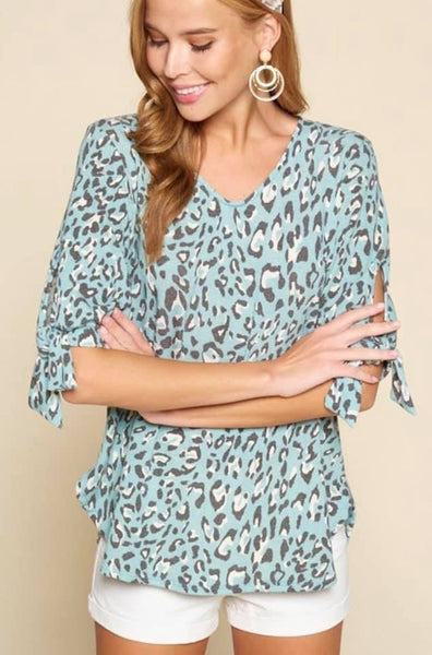 Animal Print Tie Top