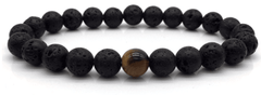 Lava stone diffuser bracelet with brown tiger eye stone - Elabloom