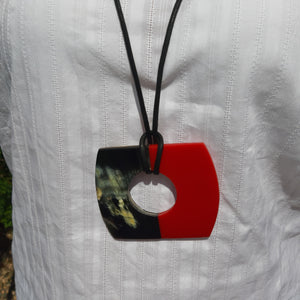 Nouvelle red stone & black disk necklace