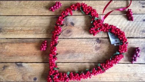 Red Mini Bead Large Heart Hanging Christmas Decoration