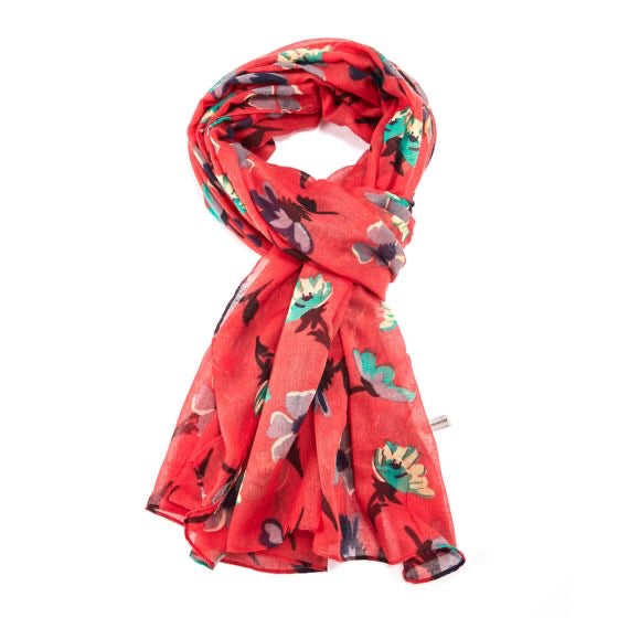 Molly Red Floral Multicoloured Scarf