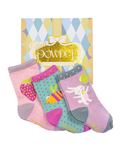 Powder Baby sock gift box girls 3 pairs 0-months