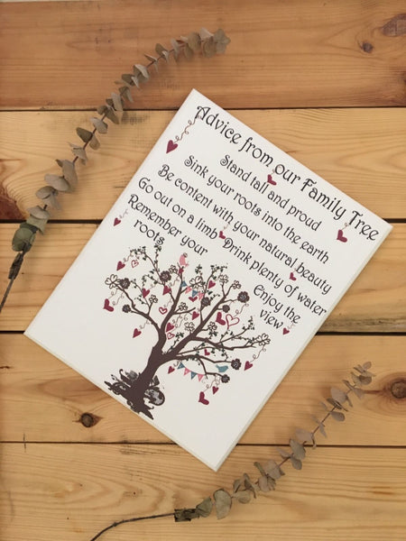 Family Advice Tree Wall Panel Plaque