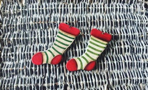 Set of 2 Small Stocking Hanging Decorations
