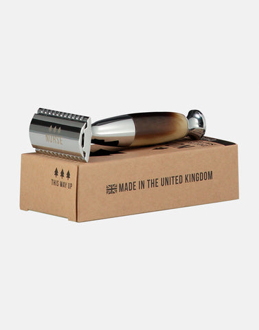 Thick handled double edged safety razor by Norse, hand made in the United Kingdom