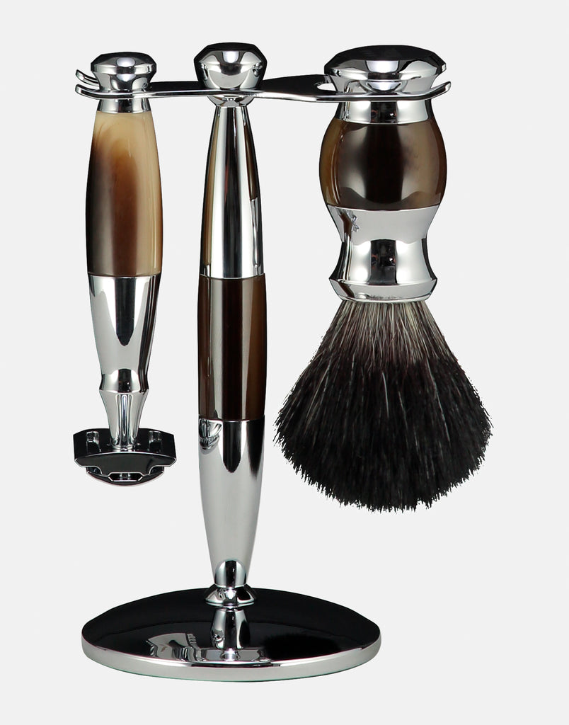 Norse horn coloured doubled edged razor shaving set