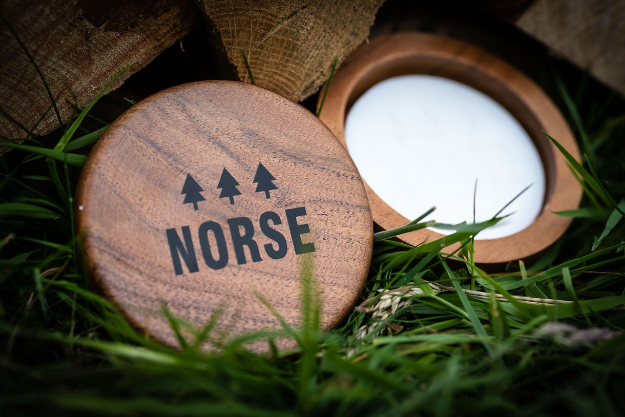 Norse shaving soap in wooden bowl open lid