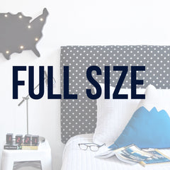Full size parsons upholstered headboards from Hideout Kids come in fun prints and patterns for your childs room.