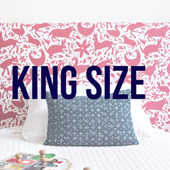 King size parsons upholstered headboards from Hideout Kids come in fun prints and patterns for your child's room or your guest room like toile, swiss cross and buffalo check.