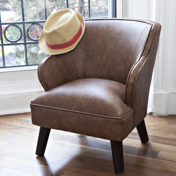 Mini Chair In Brown Recycled Leather