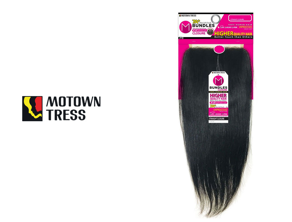 "MOTOWN TRESS 7+ BUNDLES CLOSER STRAIGHT NATURAL 10""-18"" -w-"