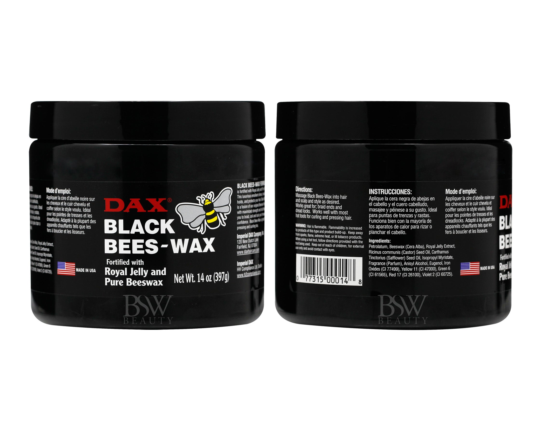 DAX BLACk BEES-WAX FORTIFIED WITH ROYAL JELLY AND PURE BEESWAX 14oz