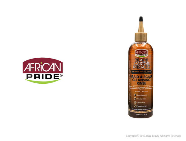 AFRICAN PRIDE BLACK CASTOR MIRACLE GROWTH PROTECTION FORMULA BRAID & SCALP CLEANSING RINSE 12oz