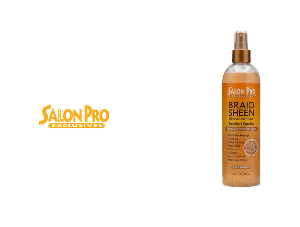 SALONN PRO EXCLSIVES BRAID SHEEN SHINE SPRAY BRAZILIAN KERATIN 12oz