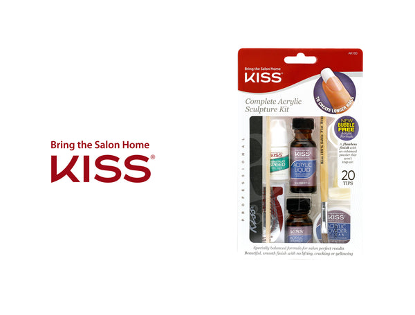 BRING THE SALON HOME KISS  COMPLETE ACRYLIC SCULPTURE KIT 20TIPS #AK100