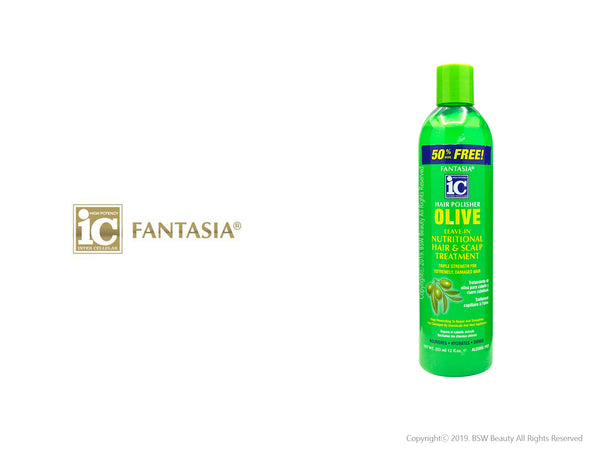 FANTASIA IC HAIR POLISHER OLIVE LEAVE-IN NUTRITIONAL HAIR SCALP TREATMENT 12oz