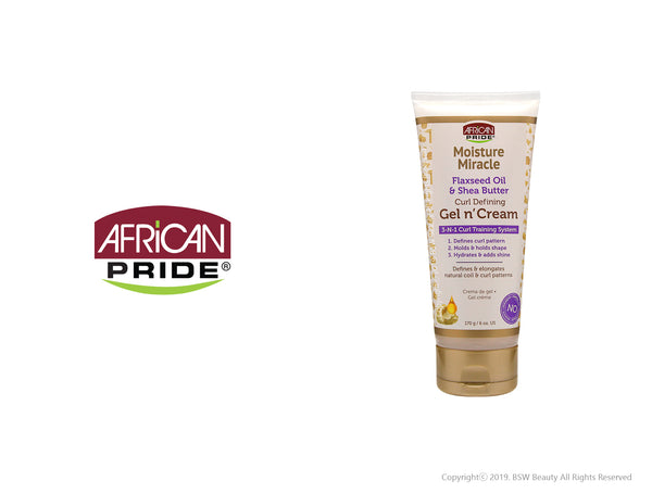 AFRICAN PRIDE MOISTURE MIRACLE FLAXSEED OIL & SHEA BUTTER CURL DEFINING GEL N' CREAM 6oz
