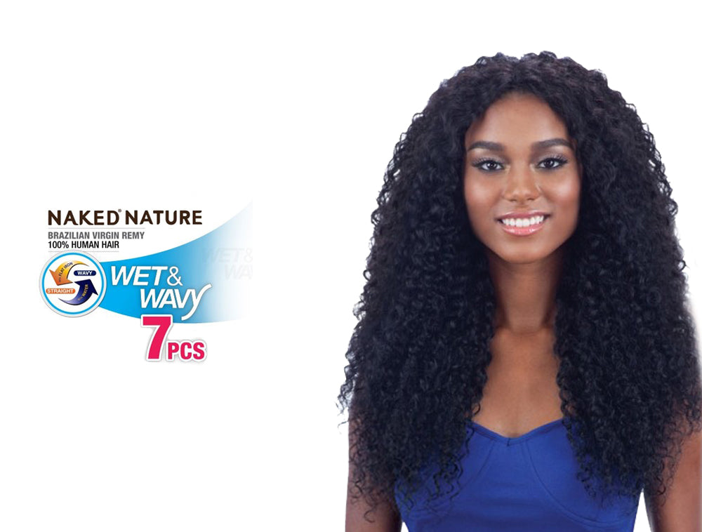 "NAKED NATURE UNPROCESSED BRAZILIAN VIRGIN REMY HUMAN HAIR WEAVE WET & WAVY BEACH CURL 7PCS [18"",20"",22""]"