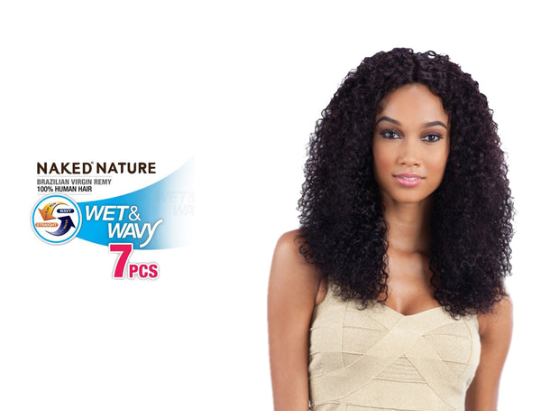 "NAKED NATURE UNPROCESSED BRAZILIAN VIRGIN REMY HUMAN HAIR WEAVE WET & WAVY BOHEMIAN CURL 7PCS [14"",16"",18""+ SILK BASE CLOSURE] [W]"
