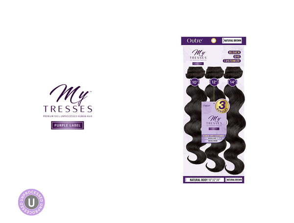 OUTRE MY TRESSES PURPLE LABEL 100% UNPROCESSED NATURAL BODY 3BUNDLES