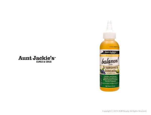 AUNT JACKIES NATURAL GROWTH OIL BLENDS BALANCE! GRAPESEED & AVOCADO 4oz